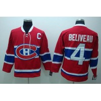 Canadiens #4 Jean Beliveau Stitched Red CH CCM Throwback NHL Jersey