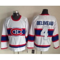 Canadiens #4 Jean Beliveau White CCM Throwback Stitched NHL Jersey