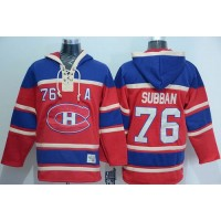 Canadiens #76 P.K Subban Red Sawyer Hooded Sweatshirt Stitched NHL Jersey