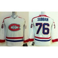 Canadiens #76 P.K Subban White Stitched Youth NHL Jersey