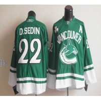 Canucks St Patty's Day #22 Daniel Sedin Green Stitched NHL Jersey