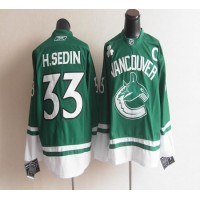 Canucks St Patty's Day #33 Henrik Sedin Green Stitched NHL Jersey