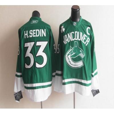 Canucks St Patty's Day #33 Henrik Sedin Green Stitched NHL Jersey