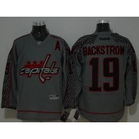 Capitals #19 Nicklas Backstrom Charcoal Cross Check Fashion Stitched NHL Jersey