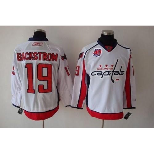 135dce07bda Capitals #19 Nicklas Backstrom White 40th Anniversary Stitched NHL Jersey