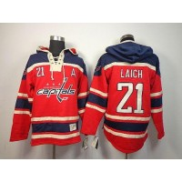 Capitals #21 Brooks Laich Red Sawyer Hooded Sweatshirt Stitched NHL Jersey