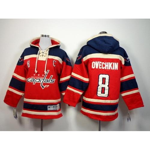 Capitals  8 Alex Ovechkin Red Sawyer Hooded Sweatshirt Stitched Youth NHL  Jersey 17ff5c938