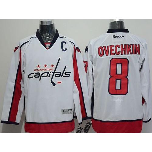 Capitals  8 Alex Ovechkin White Stitched NHL Jersey 3b63de855
