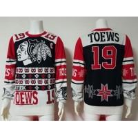 Chicago Blackhawks #19 Jonathan Toews BlackRed Men's NHL Ugly Sweater