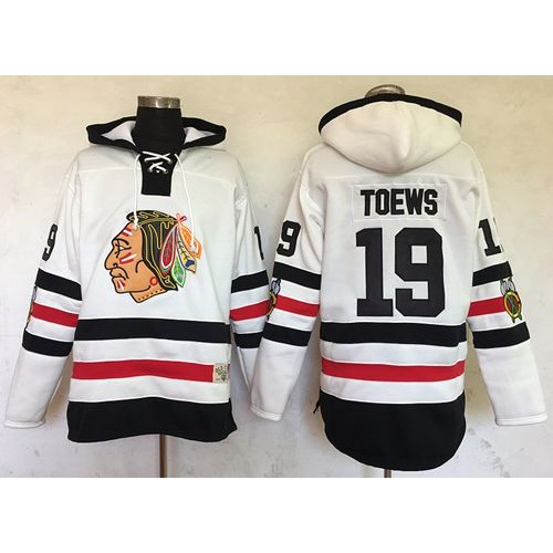 Chicago Blackhawks  19 Jonathan Toews White Sawyer Hooded Sweatshirt 2017  Winter Classic Stitched NHL Jersey be2e60911