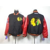 Chicago Blackhawks Satin Button-Up Black NHL Jacket
