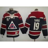 Colorado Avalanche #19 Joe Sakic Navy Blue Sawyer Hooded Sweatshirt Stitched NHL Jersey