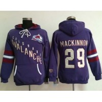 Colorado Avalanche #29 Nathan MacKinnon Purple Women's Old Time Heidi NHL Hoodie