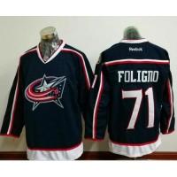 Columbus Blue Jackets #71 Nick Foligno Navy Blue Home Stitched NHL Jersey