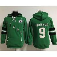 Dallas Stars #9 Mike Modano Green Women's Old Time Heidi Hoodie NHL Hoodie