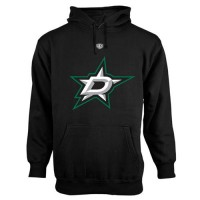 Dallas Stars Old Time Hockey Big Logo with Crest Pullover Hoodie Black
