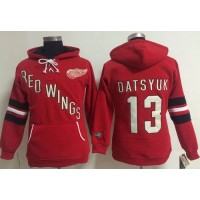 Detroit Red Wings #13 Pavel Datsyuk Red Women's Old Time Heidi NHL Hoodie