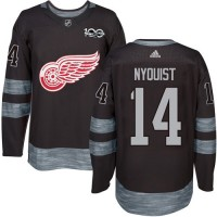 Detroit Red Wings #14 Gustav Nyquist Black 1917-2017 100th Anniversary Stitched NHL Jersey