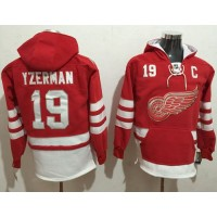 Detroit Red Wings #19 Steve Yzerman Red Name & Number Pullover NHL Hoodie