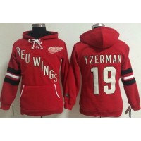 Detroit Red Wings #19 Steve Yzerman Red Women's Old Time Heidi NHL Hoodie