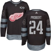 Detroit Red Wings #24 Bob Probert Black 1917-2017 100th Anniversary Stitched NHL Jersey