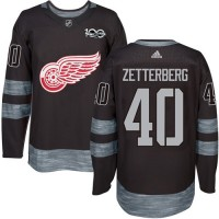 Detroit Red Wings #40 Henrik Zetterberg Black 1917-2017 100th Anniversary Stitched NHL Jersey