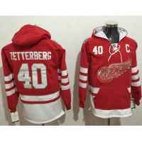 Detroit Red Wings #40 Henrik Zetterberg Red Name & Number Pullover NHL Hoodie