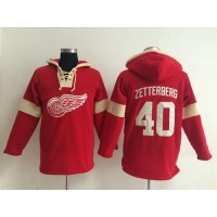 Detroit Red Wings #40 Henrik Zetterberg Red Pullover NHL Hoodie