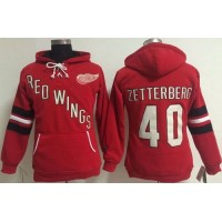 Detroit Red Wings #40 Henrik Zetterberg Red Women's Old Time Heidi NHL Hoodie