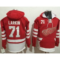 Detroit Red Wings #71 Dylan Larkin Red Name & Number Pullover NHL Hoodie