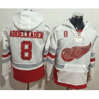 Detroit Red Wings #8 Justin Abdelkader White Name & Number Pullover NHL Hoodie