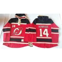 Devils #14 Adam Henrique Red Sawyer Hooded Sweatshirt Stitched NHL Jersey