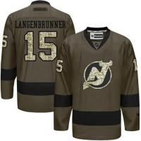 Devils #15 Langenbrunner Green Salute to Service Stitched NHL Jersey
