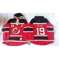 Devils #19 Travis Zajac Red Sawyer Hooded Sweatshirt Stitched NHL Jersey