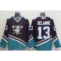 Ducks #13 Teemu Selanne PurpleTurquoise CCM Throwback Stitched NHL Jersey