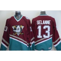Ducks #13 Teemu Selanne Red CCM Throwback Stitched NHL Jersey
