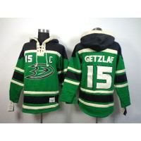 Ducks #15 Ryan Getzlaf Green St. Patrick's Day McNary Lace Hoodie Stitched NHL Jersey