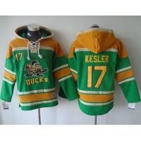 Ducks #17 Ryan Kesler Green Sawyer Hooded Sweatshirt Stitched NHL Jersey