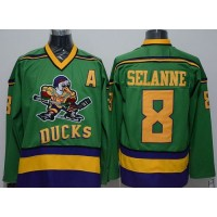 Ducks #8 Teemu Selanne Green CCM Throwback Stitched NHL Jersey