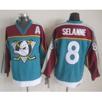 Ducks #8 Teemu Selanne RedTurquoise CCM Throwback Stitched NHL Jersey