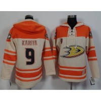 Ducks #9 Paul Kariya CreamOrange Sawyer Hooded Sweatshirt Stitched NHL Jersey