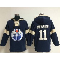 Edmonton Oilers #11 Mark Messier Dark Blue Pullover NHL Hoodie