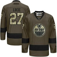 Edmonton Oilers #27 Milan Lucic Green Salute to Service Stitched NHL Jersey