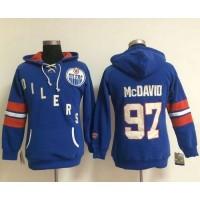 Edmonton Oilers #97 Connor McDavid Light Blue Women's Old Time Heidi NHL Hoodie