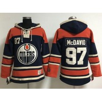Edmonton Oilers #97 Connor McDavid Navy Blue Women's Old Time Lacer NHL Hoodie