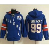 Edmonton Oilers #99 Wayne Gretzky Light Blue Women's Old Time Heidi NHL Hoodie