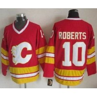 Flames #10 Gary Roberts Red CCM Throwback Stitched NHL Jersey