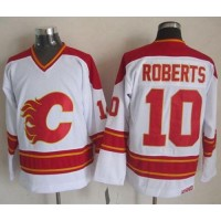Flames #10 Gary Roberts White CCM Throwback Stitched NHL Jersey