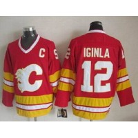 Flames #12 Jarome Iginla Red CCM Throwback Stitched NHL Jersey
