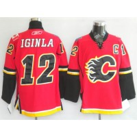 Flames #12 Jarome Iginla Red Home Stitched Youth NHL Jersey